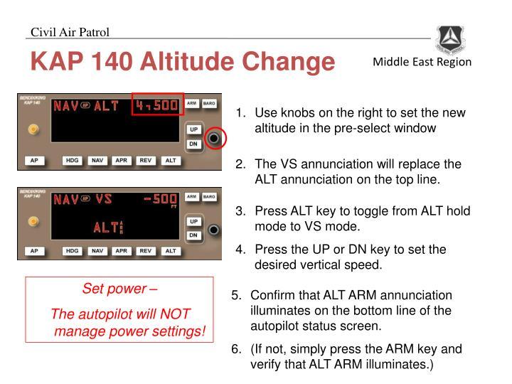 KAP 140 Altitude Change