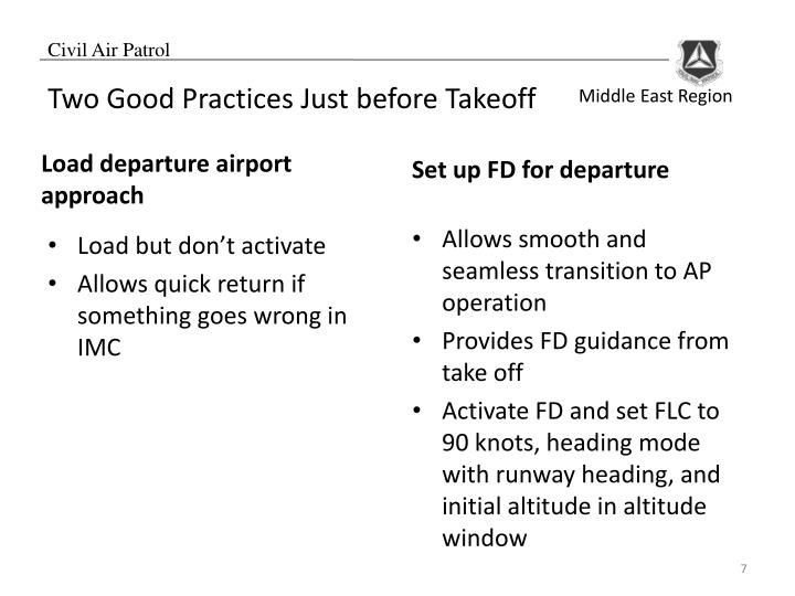 Two Good Practices Just before Takeoff