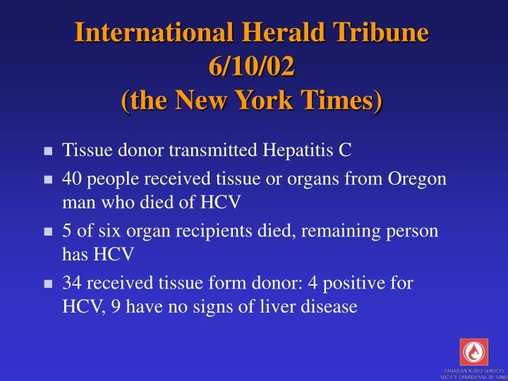 International Herald Tribune 6/10/02