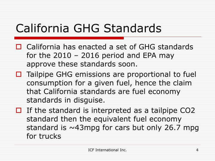 California GHG Standards