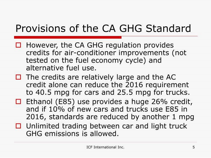 Provisions of the CA GHG Standard