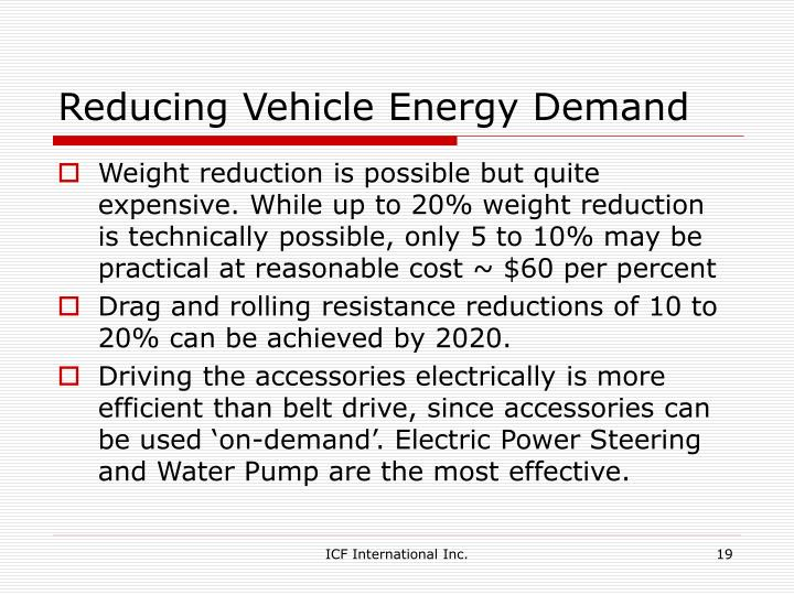 Reducing Vehicle Energy Demand