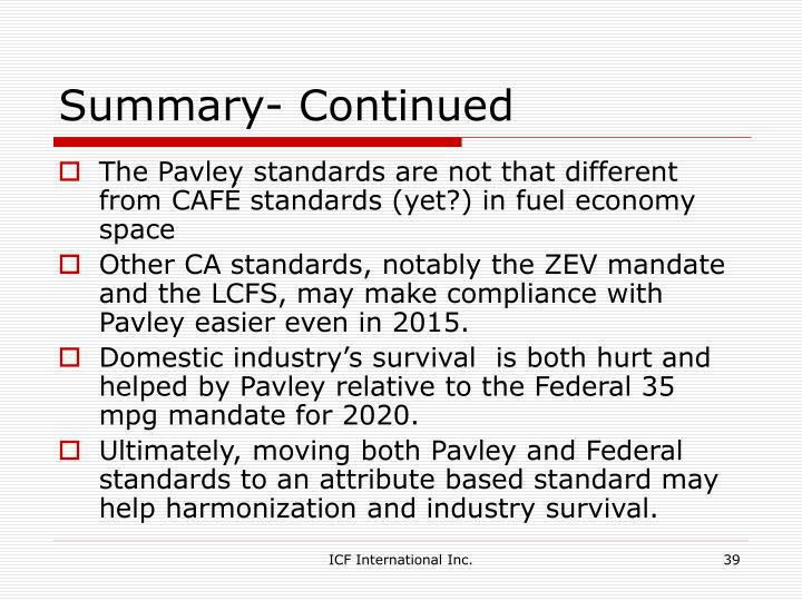 Summary- Continued