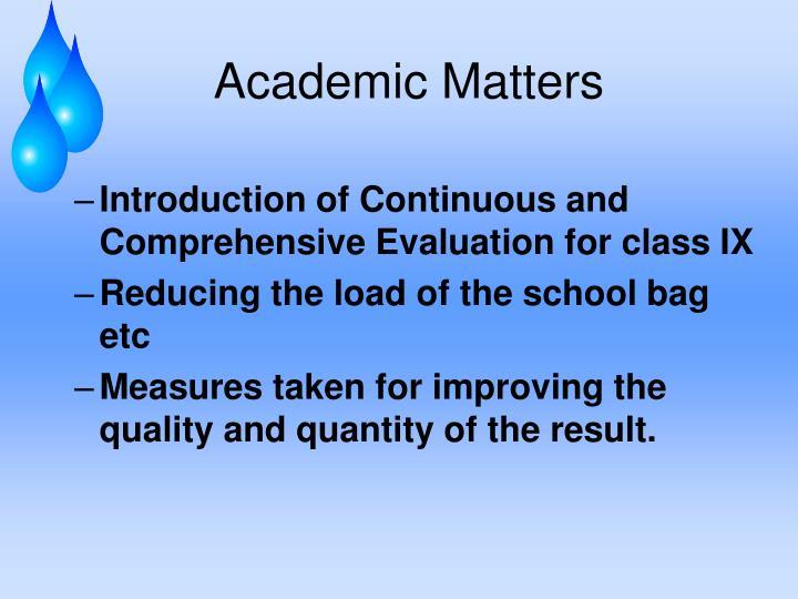 Academic Matters