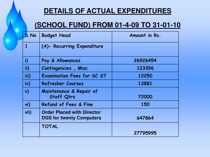 DETAILS OF ACTUAL EXPENDITURES