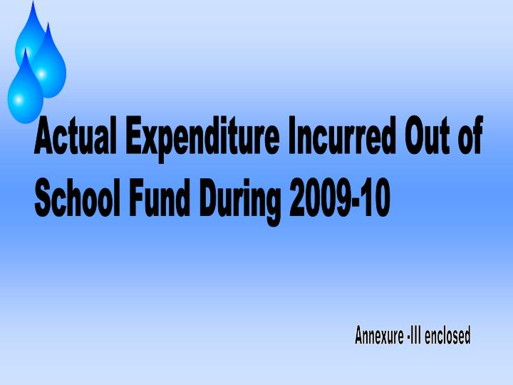 Actual Expenditure Incurred Out of