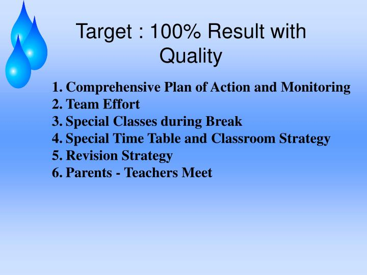 Target : 100% Result with Quality