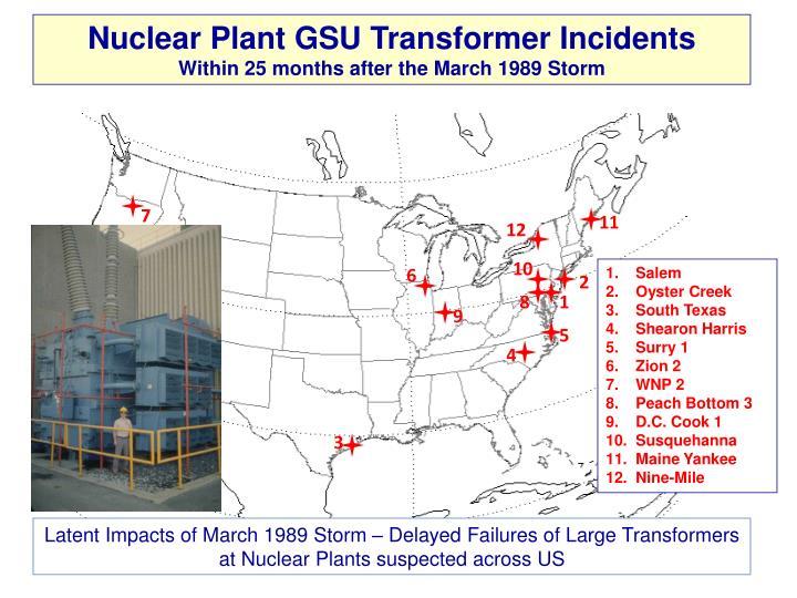 Nuclear Plant GSU Transformer Incidents