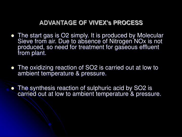 ADVANTAGE OF VIVEX's PROCESS