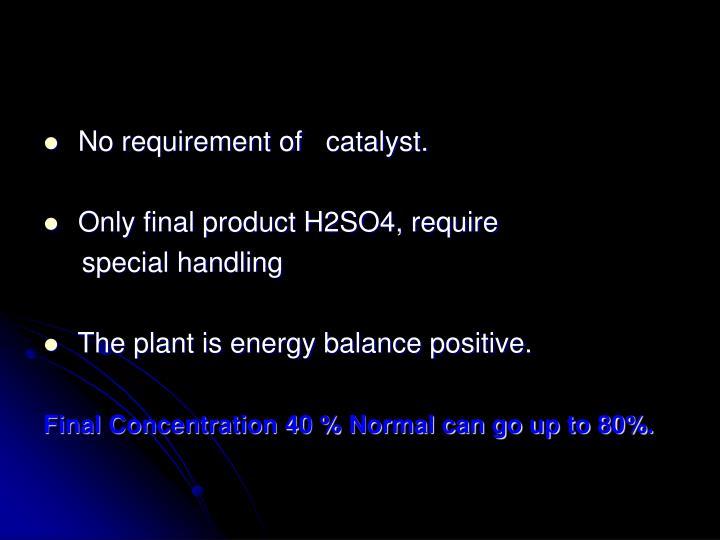 No requirement of catalyst.