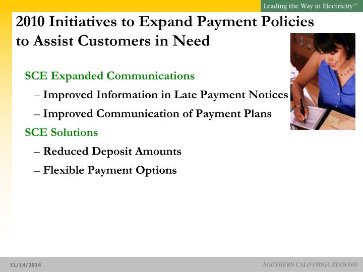 2010 Initiatives to Expand Payment Policies