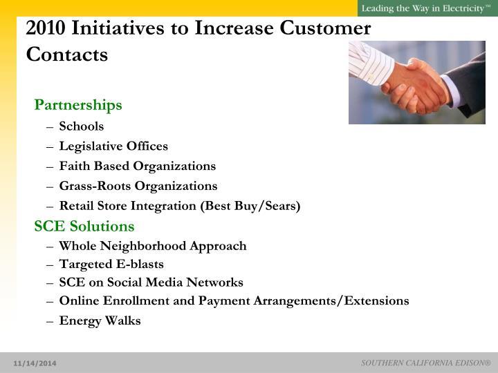 2010 Initiatives to Increase Customer