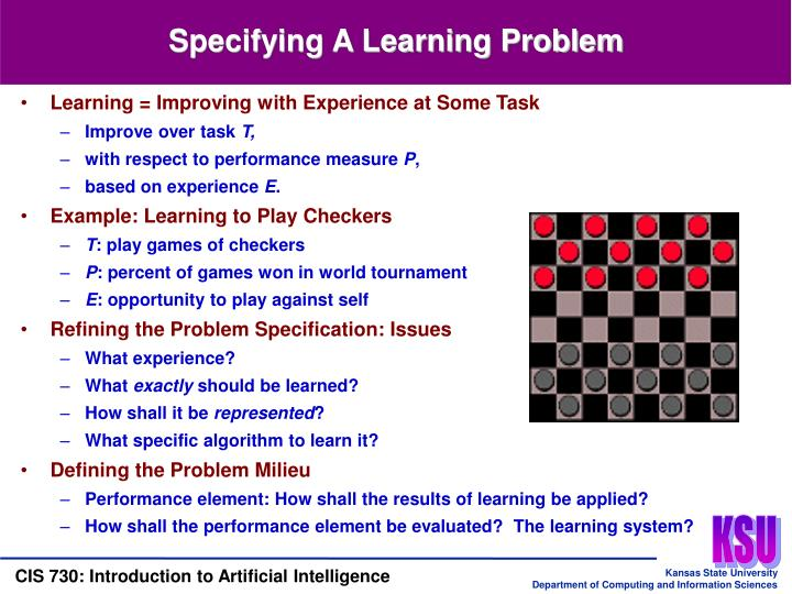 Specifying A Learning Problem