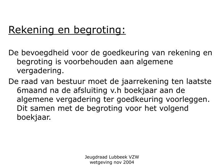 Rekening en begroting: