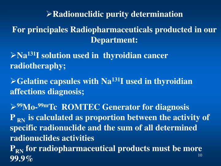 Radionuclidic purity determination
