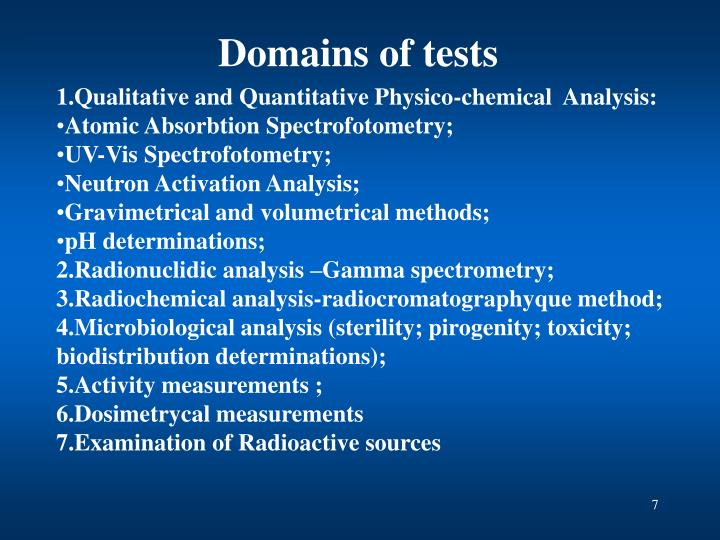 Domains of tests