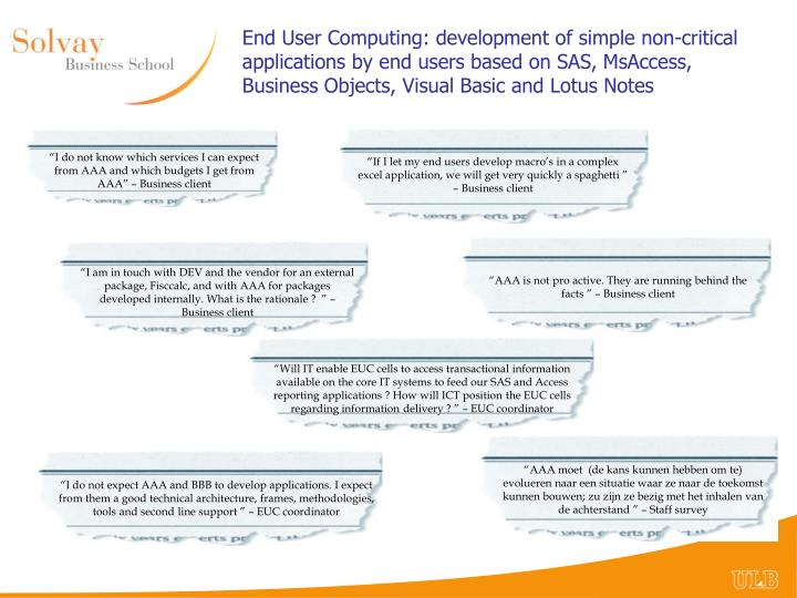 End User Computing: development of simple non-critical applications by end users based on SAS,