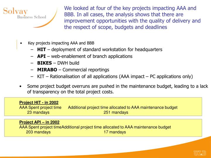We looked at four of the key projects impacting AAA and BBB. In all cases, the analysis shows that there are improvement opportunities with the quality of delivery and the respect of scope, budgets and deadlines