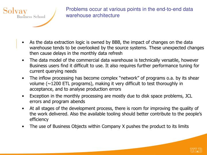 Problems occur at various points in the end-to-end data warehouse architecture