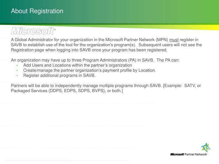 About Registration