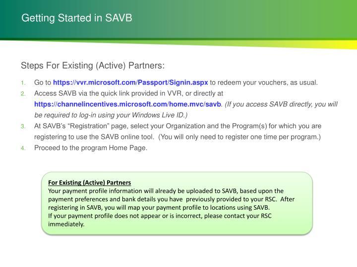 Getting Started in SAVB