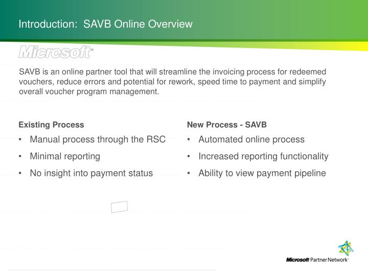 Introduction:  SAVB Online Overview