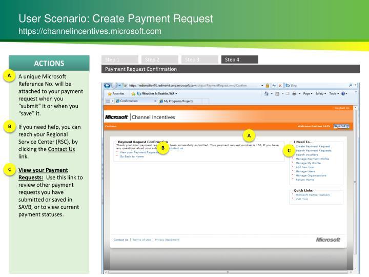 User Scenario: Create Payment Request