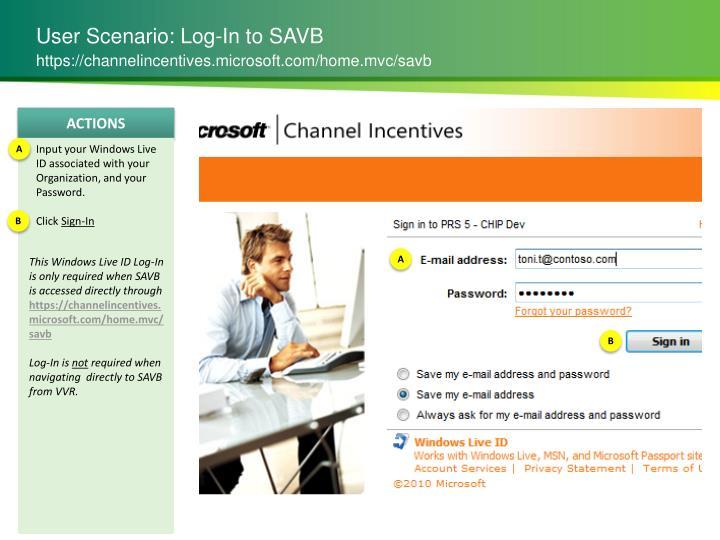 User Scenario: Log-In to SAVB