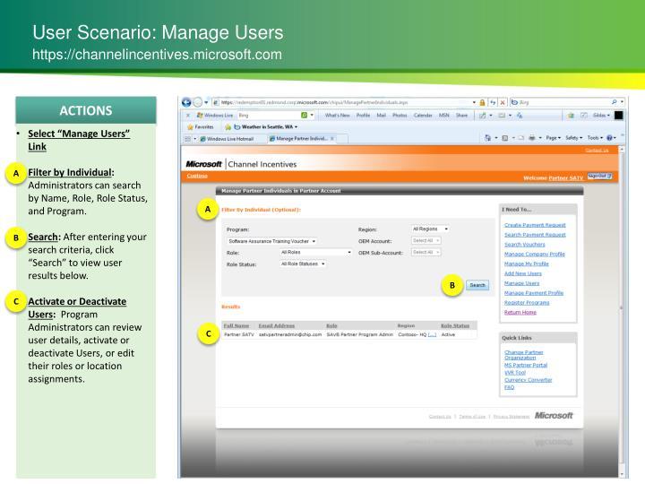 User Scenario: Manage Users