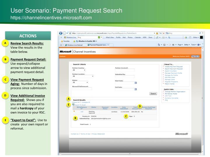 User Scenario: Payment Request Search