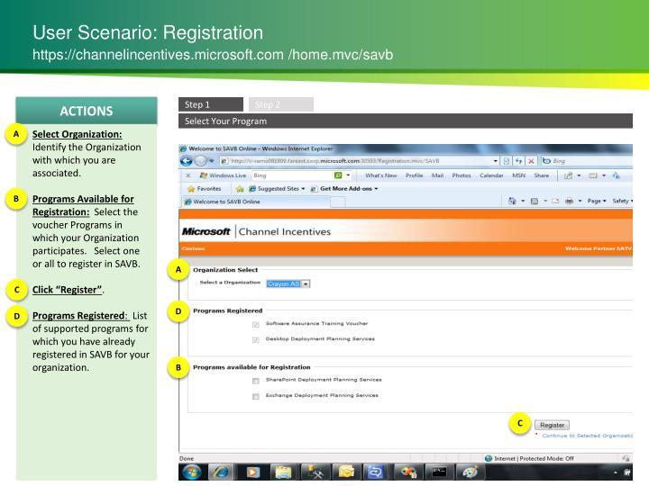 User Scenario: Registration
