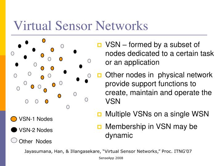 VSN – formed by a subset of nodes dedicated to a certain task or an application