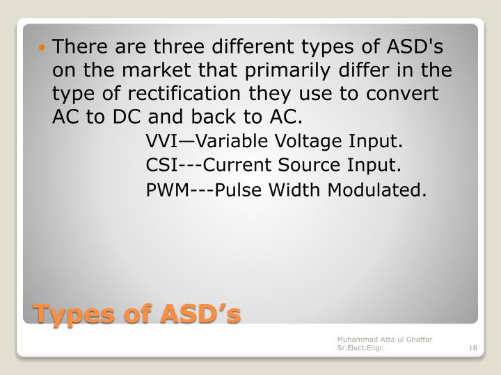 There are three different types of ASD's on the market that primarily differ in the type of rectification they use to convert AC to DC and back to AC.
