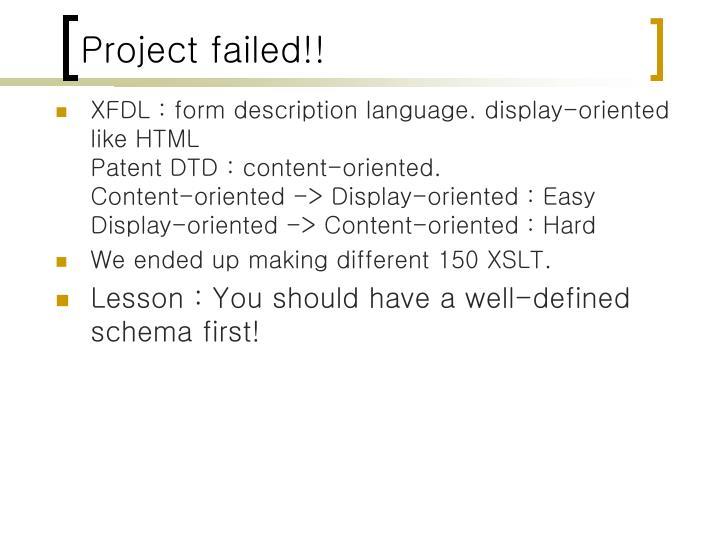 Project failed!!