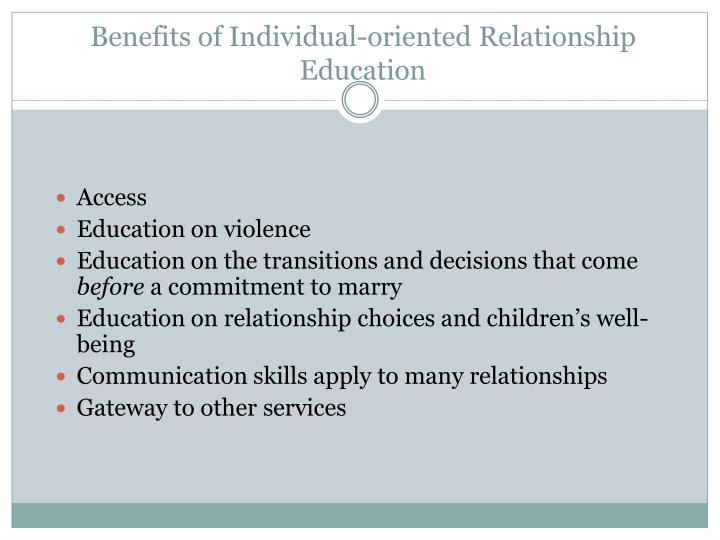 Benefits of Individual-oriented Relationship Education