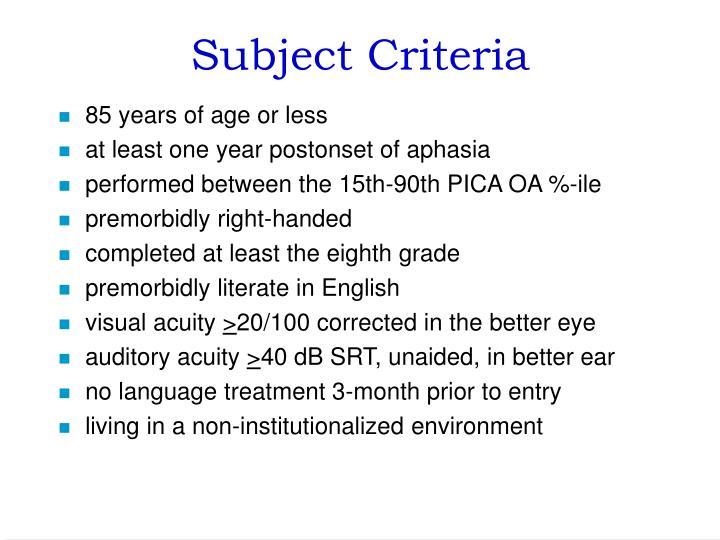 Subject Criteria