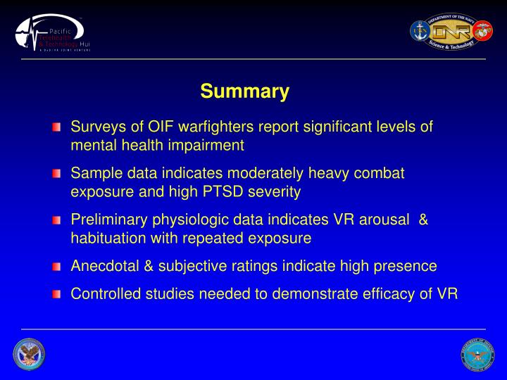 Surveys of OIF warfighters report significant levels of mental health impairment