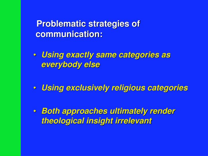 Problematic strategies of communication