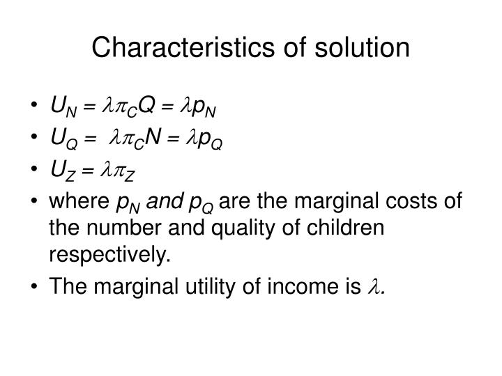 Characteristics of solution