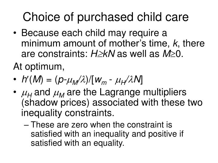 Choice of purchased child care