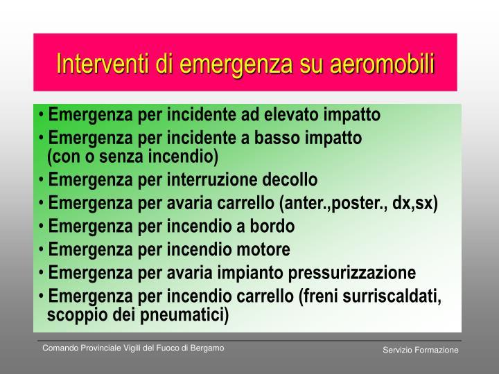 Interventi di emergenza su aeromobili