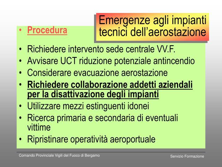 Emergenze agli impianti tecnici dell'aerostazione