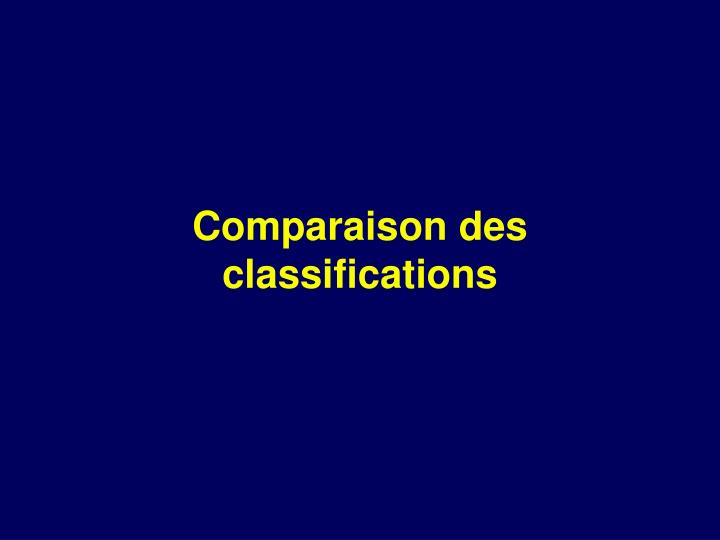 Comparaison des classifications
