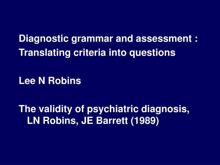Diagnostic grammar and assessment :