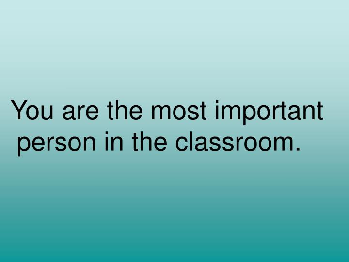 You are the most important person in the classroom.