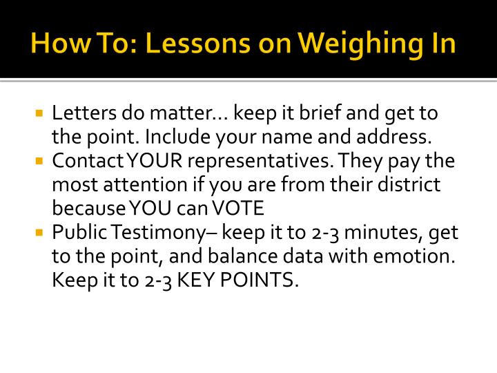 How To: Lessons on Weighing In