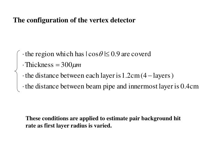 The configuration of the vertex detector