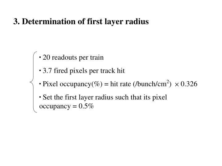3. Determination of first layer radius