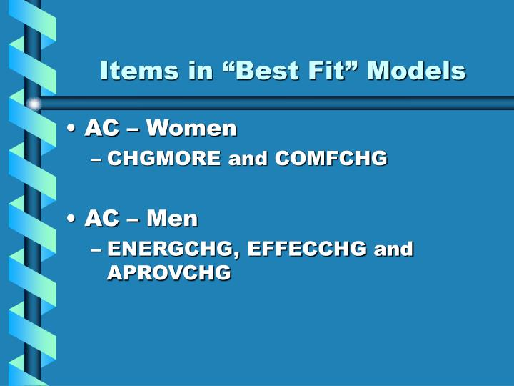 "Items in ""Best Fit"" Models"