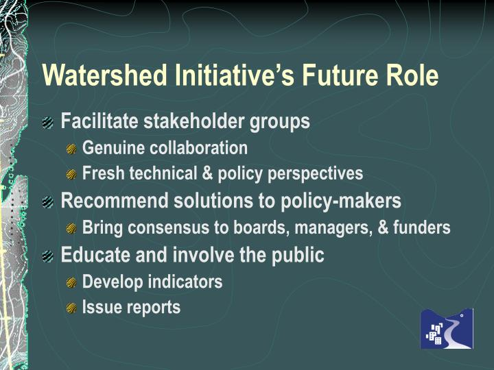 Watershed Initiative's Future Role